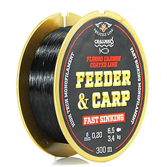 Леска Cralusso Feeder&Carp Fluoro Carbon Coated Fast Sinking 0,18mm 300m 2,80kg